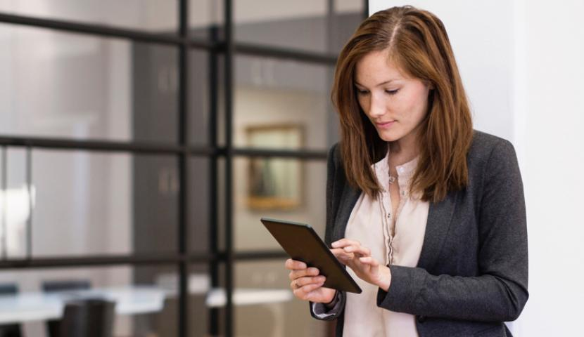 Woman on a tablet mobile device