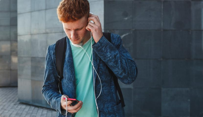 male user listening to music